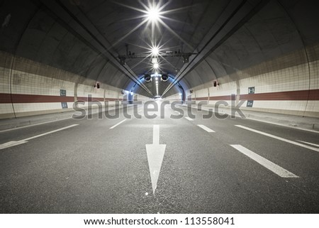 Interior of an urban tunnel, Prague, Czech Republic - stock photo