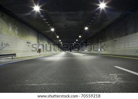 Interior of an urban tunnel without traffic