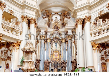 Interior of ancient church. It is constructed 1600-1700. The city of Lvov, Ukraine - stock photo