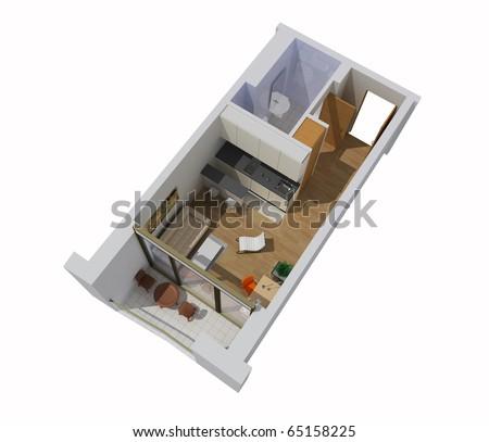 interior of apartment. 3d model - stock photo