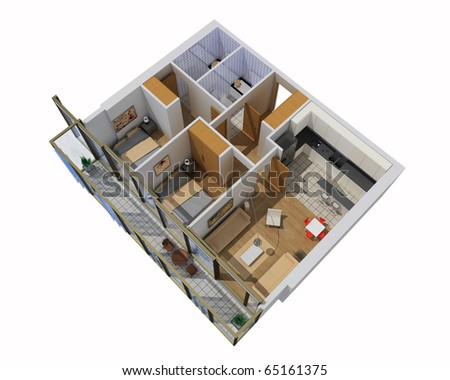 interior of apartment. 3d model - stock photo