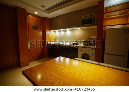 Interior of apartment kitchen. - stock photo