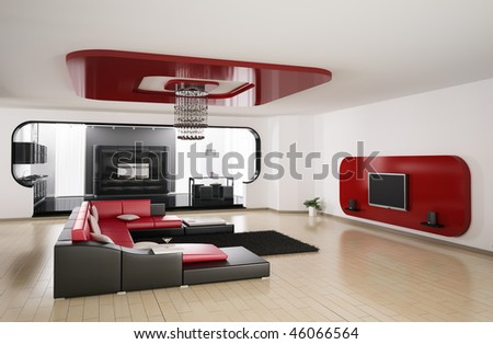 Interior of apartment. Living room, kitchen 3d render - stock photo