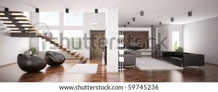 Interior of apartment panorama 3d render - stock photo