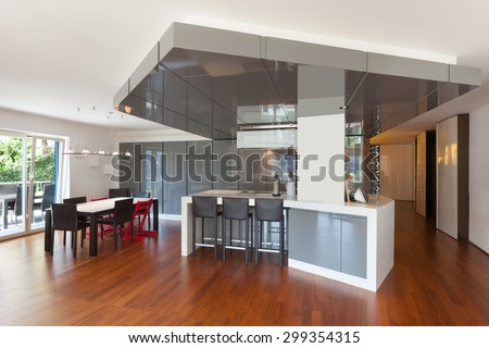 Interior of apartment, wide kitchen, parquet floor