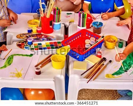 Interior of art game room in kids preschool  kindergarten. - stock photo