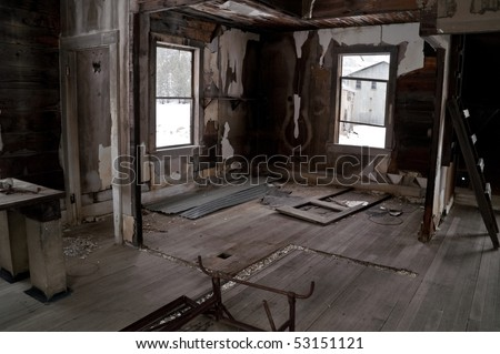 Interior of assay building at a Montana ghost town 60-some years after it was abandoned - stock photo