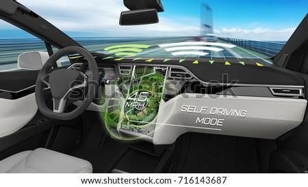 Interior autonomous car running self driving stock illustration interior of autonomous car running in self driving mode 3d rendering solutioingenieria Choice Image