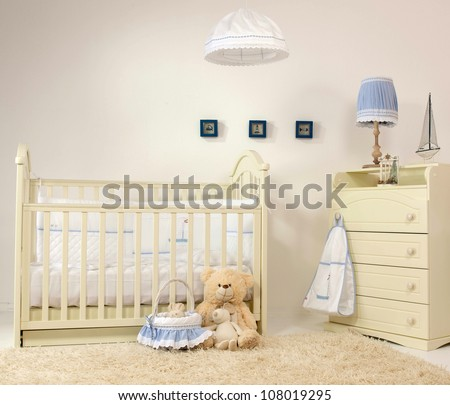 interior of baby room indoors bed carpet - stock photo