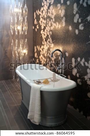 interior of  bath room with modern light - stock photo