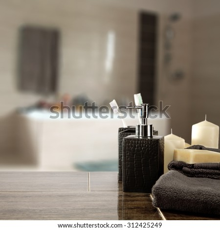 interior of bathroom and brown towels  - stock photo