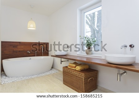 Interior of bathroom in african style - stock photo