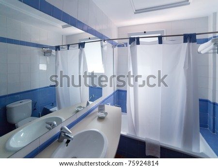 Interior of bathroom in hotel - stock photo