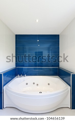 interior of bathroom in modern house,  hot tub - stock photo