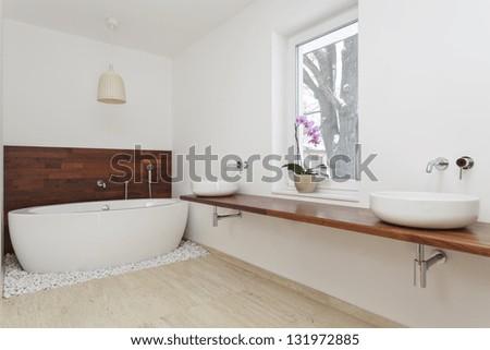 Interior of bathroom with exotic decoration - stock photo