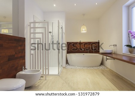 Interior of bathroom with exotic wood