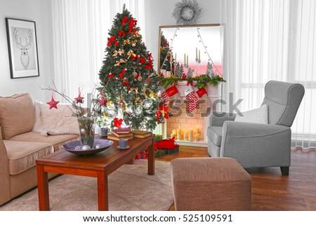 Beautiful Decorated Living Room Christmas Tree Stock Photo ...