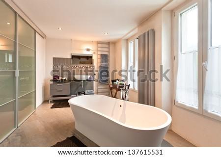 interior of beauty house, bathroom - stock photo