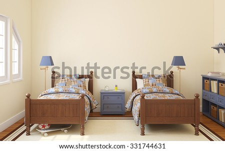 Interior of bedroom for two children. 3d render.