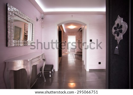 Interior of beige hallway in luxury residence