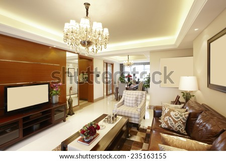 interior of beige living room