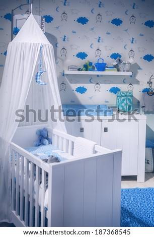 interior of boy's  baby room  - stock photo