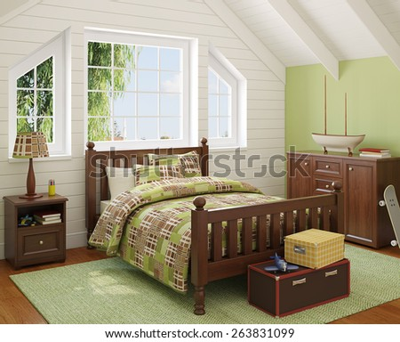 Interior of boy's room. 3d render. Photo behind the window was made by me. - stock photo