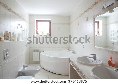 interior of bright and colorful European shower - stock photo