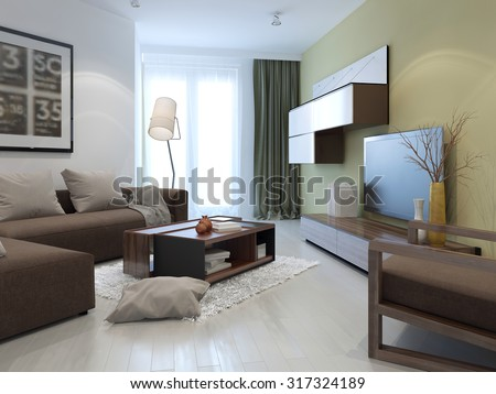 Interior of bright fusion lounge. Tan and white colored walls, brown furniture and dark olive cushions. 3D render