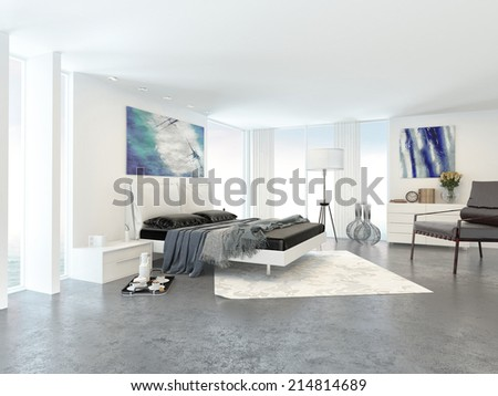 Interior of Bright Modern Bedroom in Apartment Decorated in Minimalist Style - stock photo