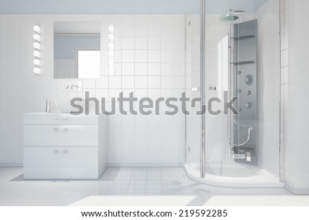 Interior of bright white bathroom with sink and modern shower - stock photo