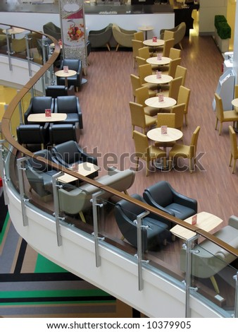 Interior of cafe in a shopping mall
