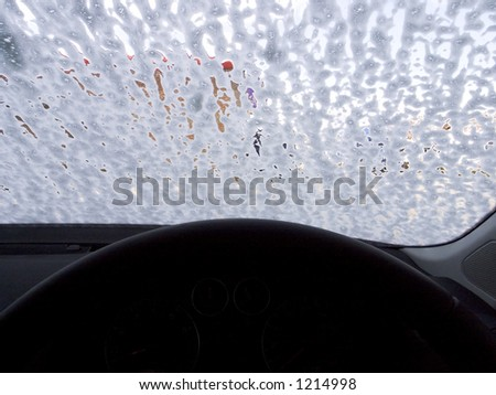 Interior of car being washed - stock photo