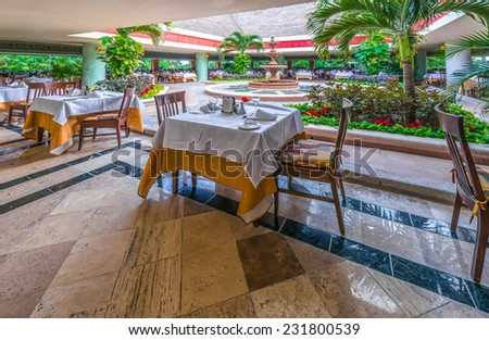 Interior of caribbean, mexican restaurant at the luxury tropical resort.