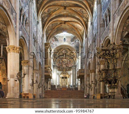 Interior of cathedral in Parma, Emilia-Romagna, Italy from XIIth century - stock photo