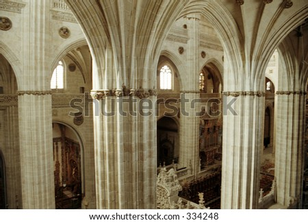 interior of cathedral in Salamanca, Spain - stock photo