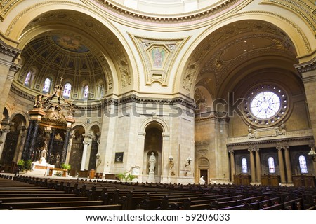 Interior of Cathedral in St. Paul, Minnesota. - stock photo