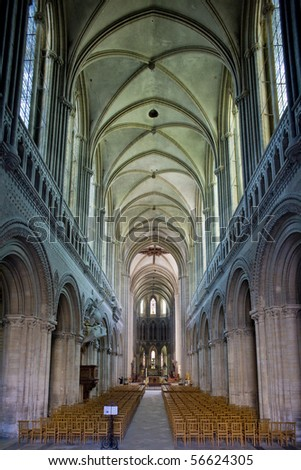 interior of Cathedral Notre Dame, Bayeux, Normandy, France - stock photo