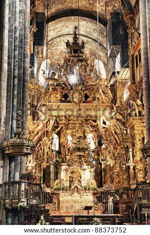 interior of cathedral of Santiago de Compostela,The final destination for pilgrims walking along the world famous camino de santiago - stock photo