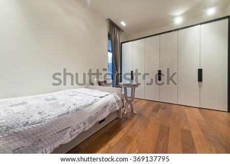 Interior of children's room with large closet