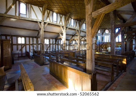 interior of church in Lentilles, Champagne, France - stock photo