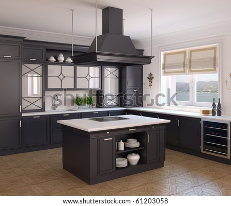 Interior of classic black kitchen. 3d render. Photo behind the window was made by me. This is Gelendzhik, Krasnodar Territory. - stock photo