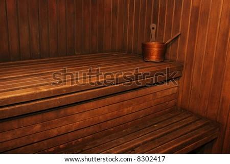 Interior of classic russian wooden sauna - stock photo