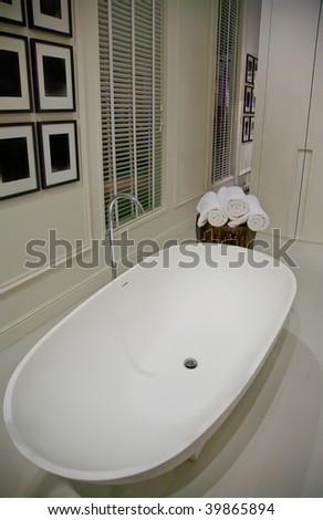 interior of classic white bathroom - stock photo