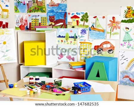 Interior of classroom at school. Nobody. - stock photo