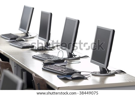 interior of classroom with computers isolated on white background - stock photo