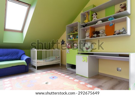 Interior of colorful room for baby child - stock photo