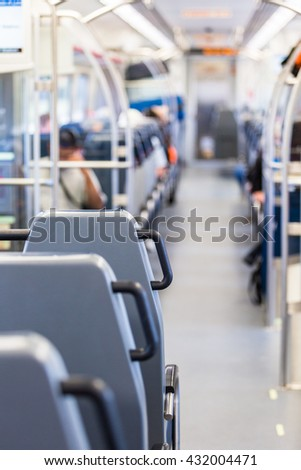 Interior of commuter train from Denver Airport to Denver Union Station. - stock photo