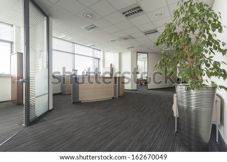 Interior of contemporary office, hall and reception - stock photo