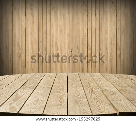 Interior of cottage room with empty tabletop and wall for Your product advertisement - stock photo